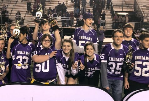 PN-G Special Olympics flag football team members celebrate after defeating LC-M, 42-40, on Dec. 13 at Indian Stadium.