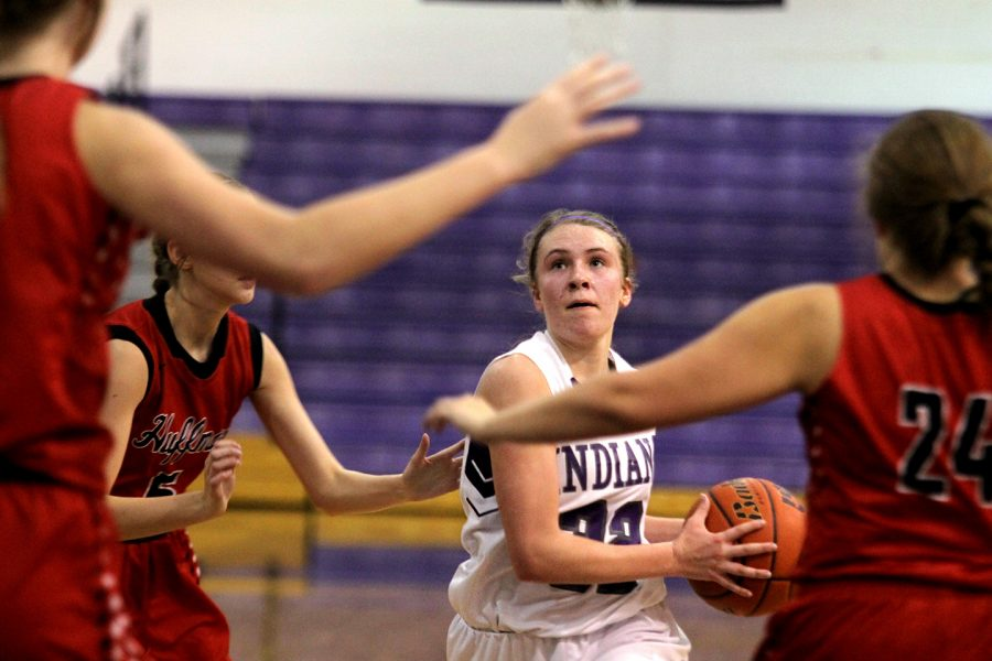 Port Neches-Groves junior Mollee Priddy drives to the hoop against Huffman.
