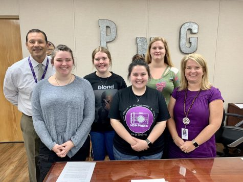 From left, PN-G Superintendent Dr. Mike Gonzales, seniors Brittany Batson, Trinity Chance, and Payton Lee, junior Halee Rhoades and Assistant Superintendent Julie Gauthier.