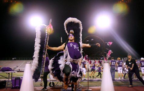 Indian Spirit Jacob Smith, senior, dances to