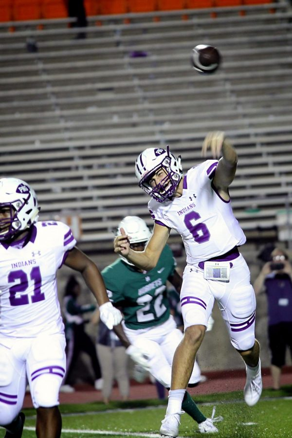 Quarterback Blake Bost, junior, sends a pass toward the sideline during the game against Huntsville on Friday, Sept. 6, 2019 at Sam Houston State University's Bowers Stadium.