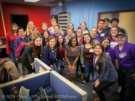 The NDN Press Club tours KFDM Channel 6 studios.