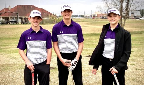 JV golfers Matthew Bair, Lake Edwards and Christian Lauffer captured 1st Place in their division during last week's 11-team JV tournament at Babe Zaharias Golf Club in Port Arthur.