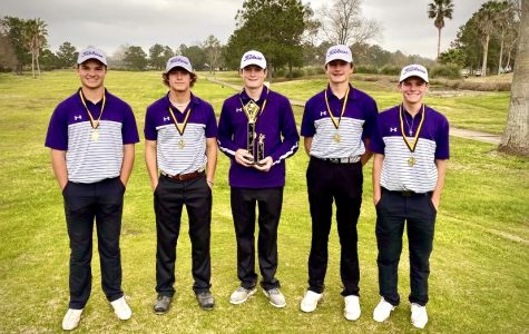 The varsity team of Tim Feemster (77), Braden Broussard (79), Jake Gauthier (82), Jason Adams (81) and Dalton Shield (78) took first place with a card of 315 Tuesday during the Vidor Invitational at The Country Club of Texas (Brentwood) in Beaumont.