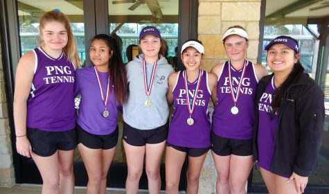 """Varsity kicked off the tennis season with Melanie Ramos and Kiley Weatherly winning the A doubles along with Bianca McManus and Allena Nguyen winning B doubles so proud of all these young ladies for working so hard today at the tournament #PNGTENNIS #PNGHIGHSCHOOL"""