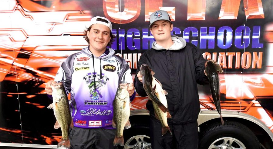 The+fishing+team+of+Blake+Makelki+and+Dalton+Shields+hauled+in+9.90+lbs+during+the+first+SETX+High+School+Fishing+Association+tournament+on+Jan.+18+at+Lake+Sam+Rayburn.++Their+total+weight+was+tops+for+the+Indian+teams.+