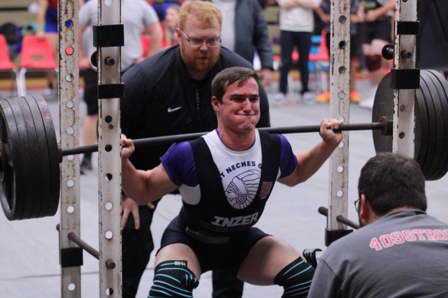 Jacob Smith, senior, competes during last week's powerlifting meet at Bridge City.