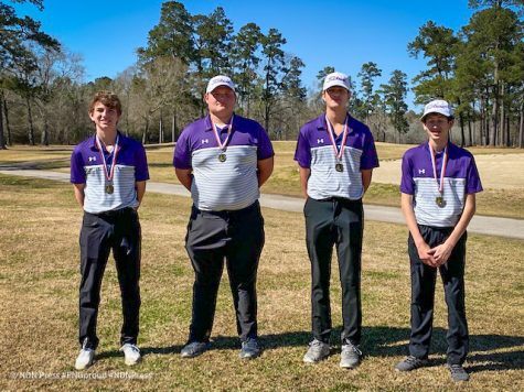 The team of Lake Edwards, Conner Knight, Christian Lauffer and Jaxson Trahan took first place Tuesday during the Hardin-Jefferson JV Invitational at Idylwild Golf Club in Sour Lake. (Photo: Jerry Honza)