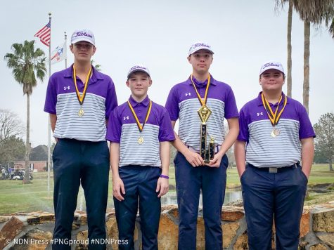 Junior varsity golfers Christian Lauffer, Jeffrey Wolfe, Dyson Foulch and Cyrus Griffin took first place with a combined score of 338 during Tuesday's Vidor Invitational at the Brentwood Country Club of Texas golf course in Beaumont.