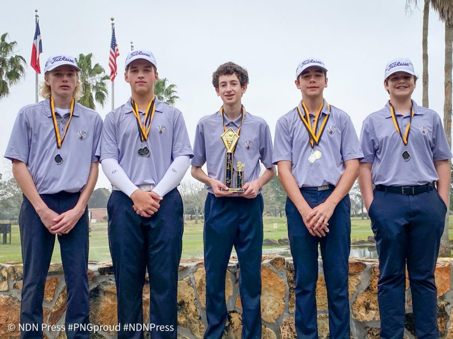 Junior varsity golfers Paul Benton, Jaxon Wolf, Jaxson Trahan, Evan Klutts and Layton Webb earning second with a combined score of 342 during Tuesday's Vidor Invitational at the Brentwood Country Club of Texas golf course in Beaumont.