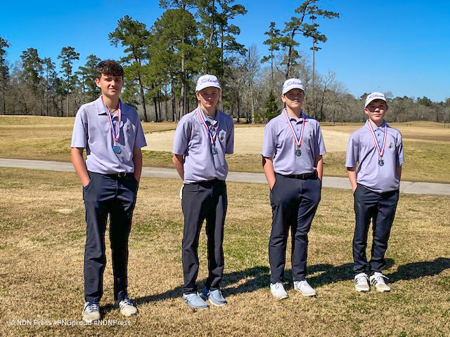 The team of Jared Fournet, Paul Benton, Layton Webb and Jeffrey Wolfe came in second place Tuesday during the Hardin-Jefferson JV Invitational at Idylwild Golf Club in Sour Lake. (Photo: Coach Honza)
