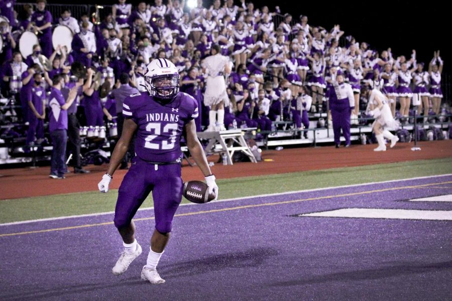 PN-G receiver Daylon Bergeron, junior, reacts after scoring a touchdown late in the game as the Indians traded leads with Port Arthur Memorial in the season-opening game on Friday, Sept. 25 at Indian Stadium in Port Neches.